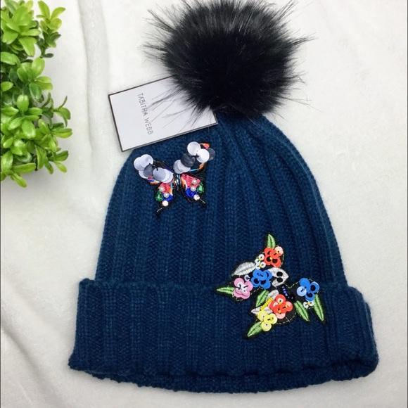 🆕Tabitha Webb knit hat furry Pom Pom NWT eef5b5dc974c